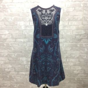 Free People Maribelle Dress Small Blue Floral Prin